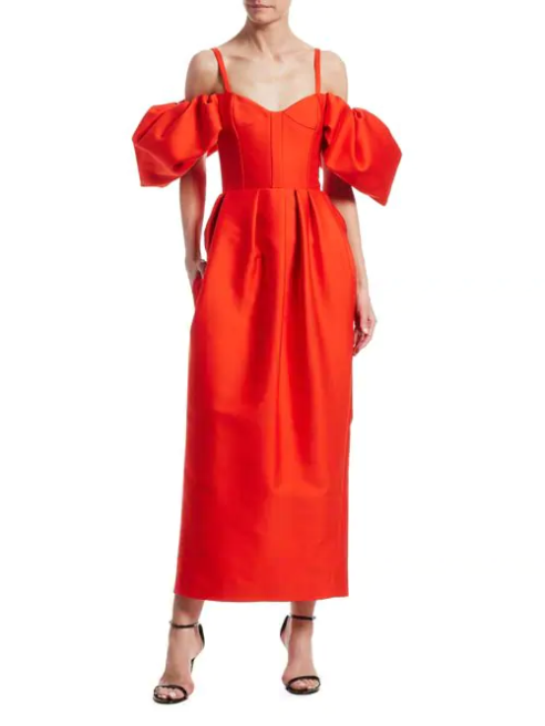 Off-The-Shoulder Puff-Sleeve Cocktail Dress
