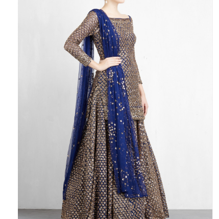 Navy Embroidered Short Kurta With Lehenga Set