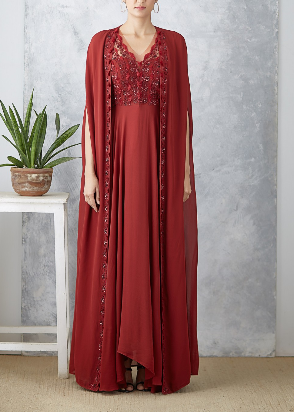 Maroon Eyana Anarkali with Cape