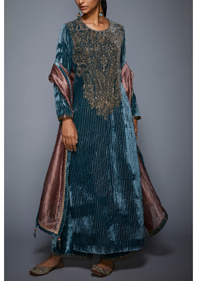 Teal Velvet Kurta Set