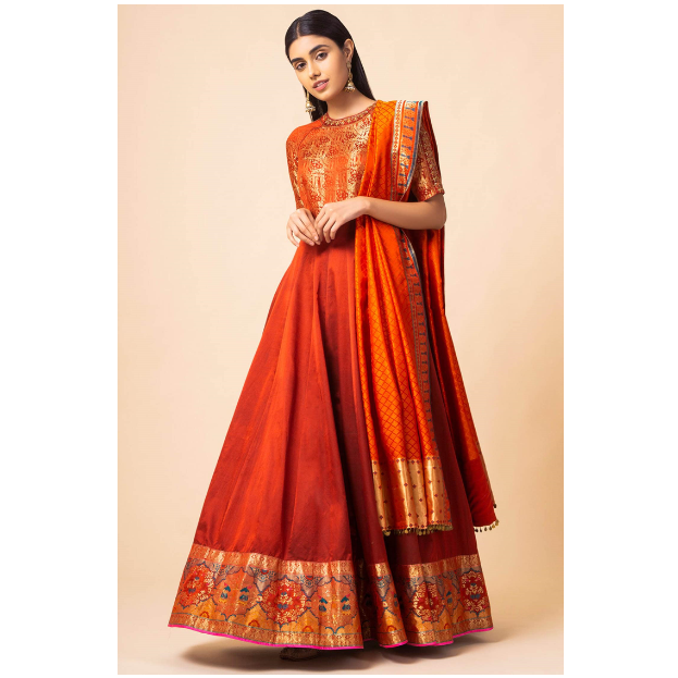 Handwoven Banarasi Silk Anarkali with Dupatta