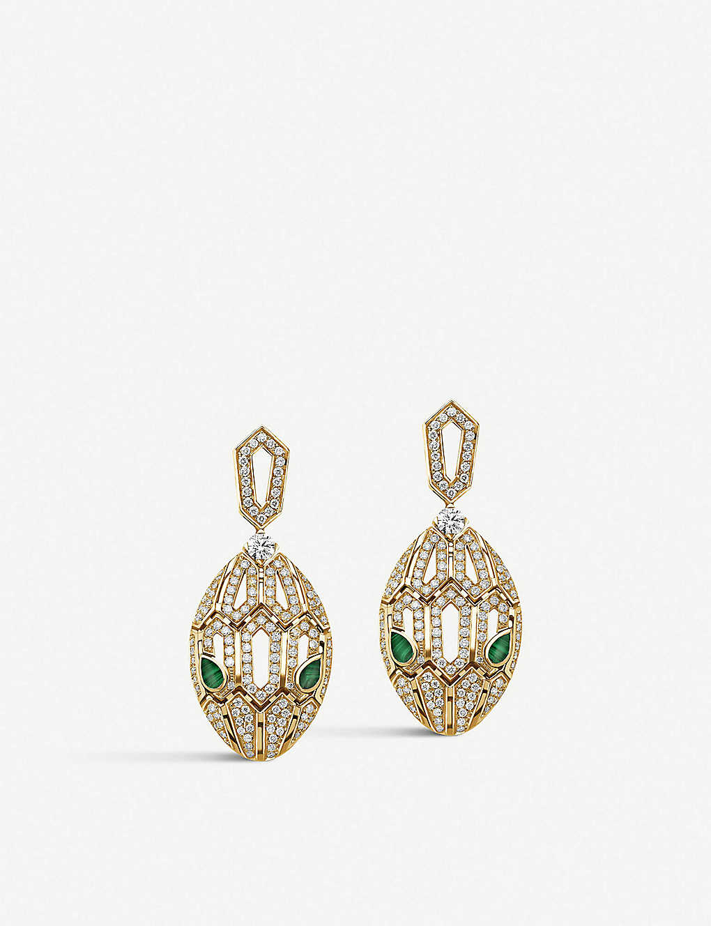 Serpenti 18ct Gold with Emerald and Pavé Diamonds Earrings