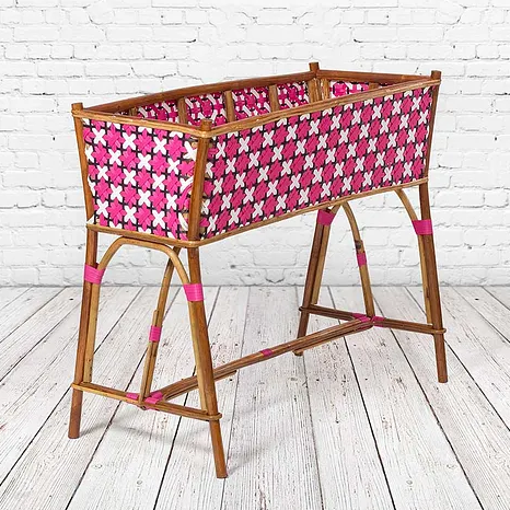 Parisian Wicker Pink-Multicolor Rattan and Wicker Planter
