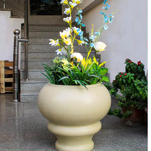 White Oval molded concrete GRC Planter
