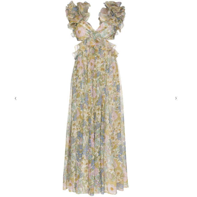 Ruffled Floral Print Gown