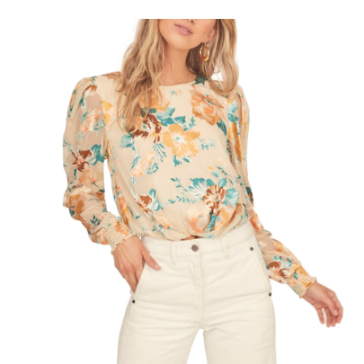 Muffy Floral Open Back Crop Top