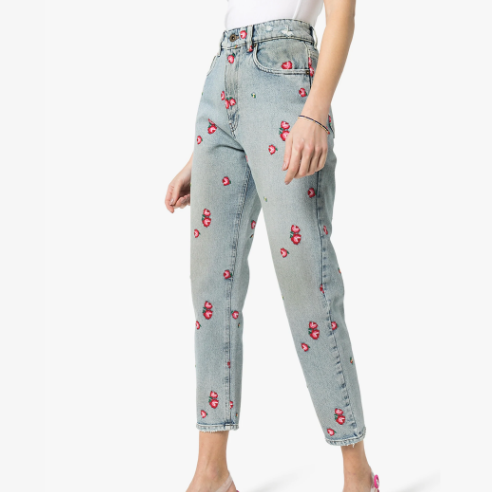 Embroidered Floral Tapered Jeans