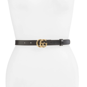 Double-G Buckle Leather Belt