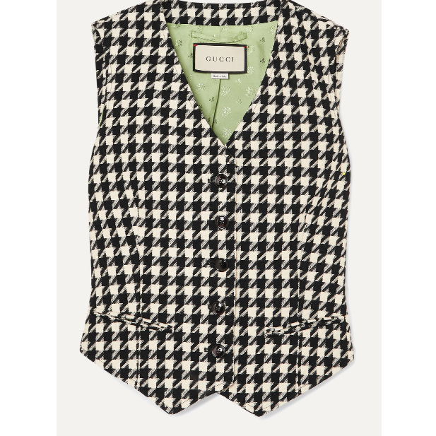 Houndstooth Wool And Cotton-Blend Vest