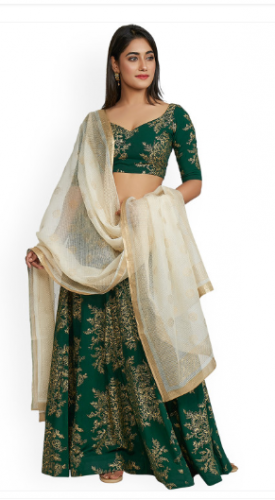 Green & Gold-Toned Printed Ready to Wear Lehenga