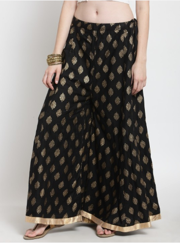 Women Black & Gold-Toned Printed Flared Palazzos