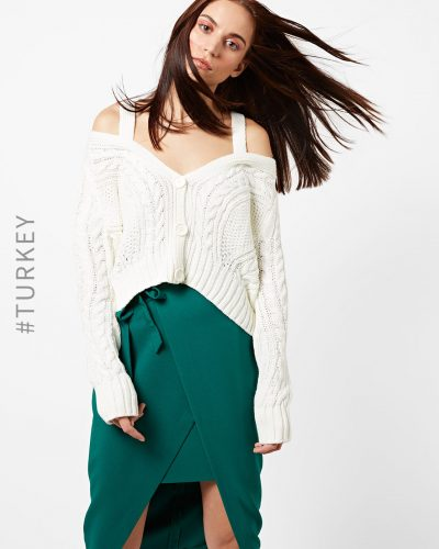 15-winter-dresses-for-women-Cable-Knit-Crop-Cardigan-Cold-Shoulders
