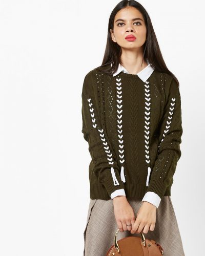 16-winter-dresses-for-women-Round-Neck-Pullover-Patterned-Knit