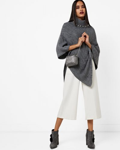 19-winter-dresses-for-women-Textured-High-Neck-Poncho-Sweater