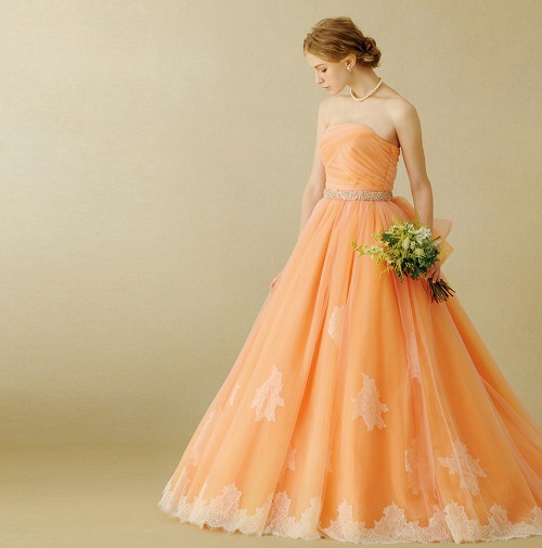 3 colourful wedding gowns