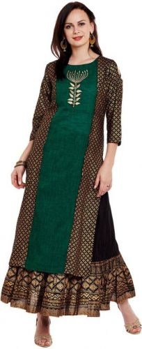 Kurti with Skirts for Indian Festivals- Bottle green 23