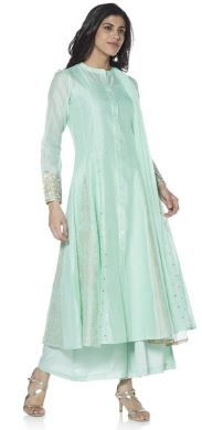 Kurti with Skirts for Indian Festivals- Sea green 40