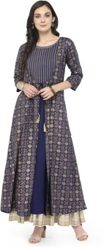 Kurti with Skirts for Indian Festivals- blue white khadi 28