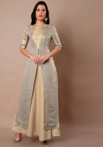 Kurti with Skirts for Indian Festivals- brocade 48