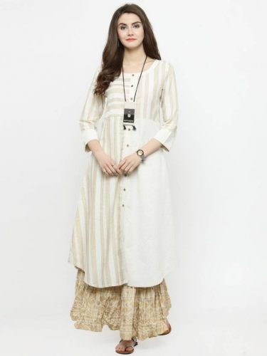Kurti with Skirts for Indian Festivals- ivory 32