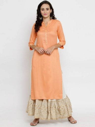 Kurti with Skirts for Indian Festivals- peach white 37