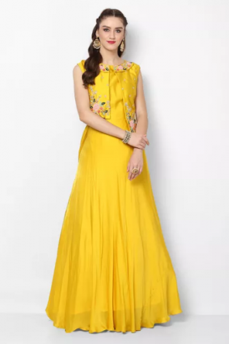 Yellow-Ethnic-Gown-With-Embroidered-Jacket