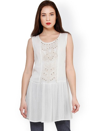 9 affordable white kurtis