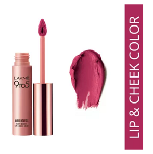 lakme-9-to-5-weightless-matte-mousse-lip-cheek-color-best-lipstick-in-india