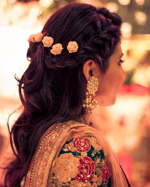 2 bridal hairstyles with flowers