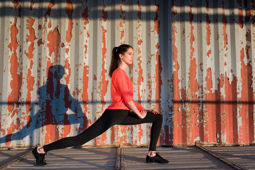 4 well toned and lean legs - brunette lunges