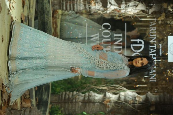 3-designer outfits-icy blue lehenga