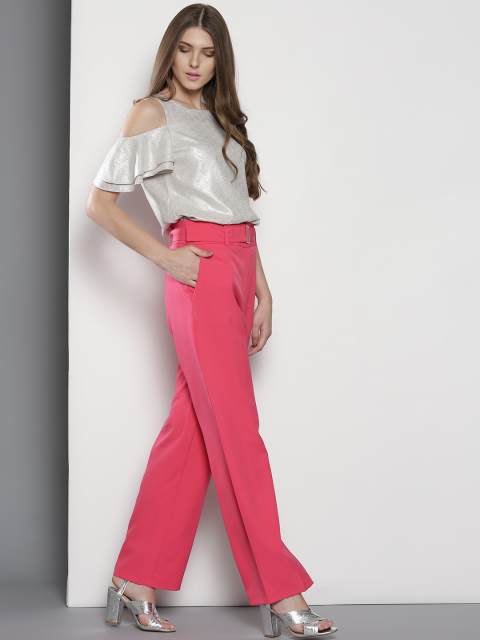 5 tips to wear wide leg pants - pink solid parallel trousers