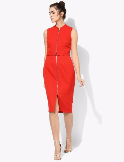 7 party dresses - Red Waffle Pencil Dress
