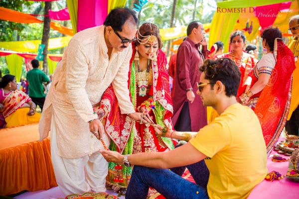 real wedding in goa haldi