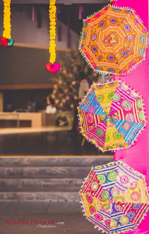 real wedding in goa umbrella decor