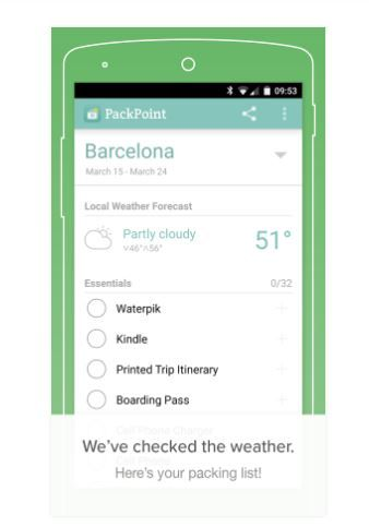 8 travel apps - packpoint