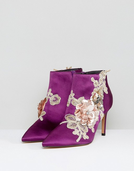1 internal  satin heeled ankle boots