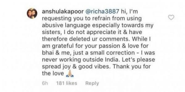 anshula kapoor comment