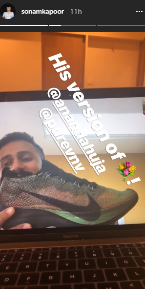 1 anand ahuja sonam kapoor sonam gift couple sonam kapoor and anand ahuja smiling anand ahuja holding a shoe
