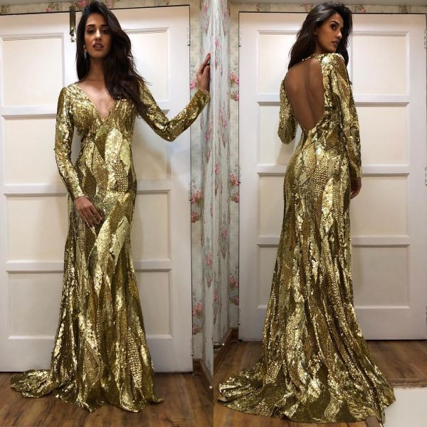 1. backless dresses and tops dish patani gold gown
