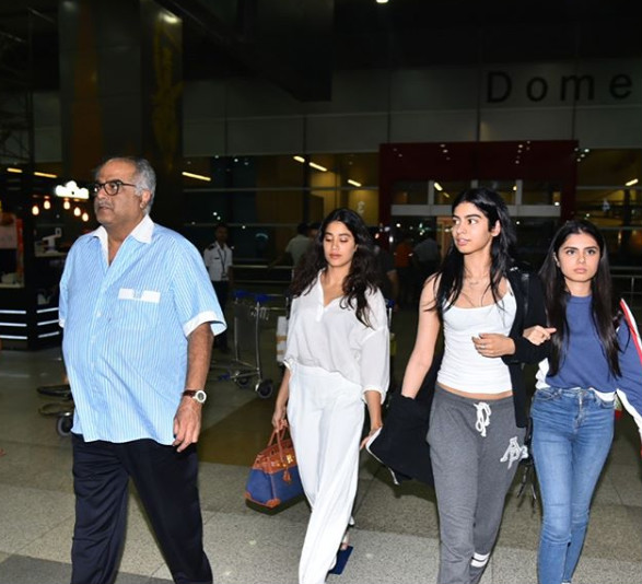 3 Boney janhvi and khushi at the delhi airport