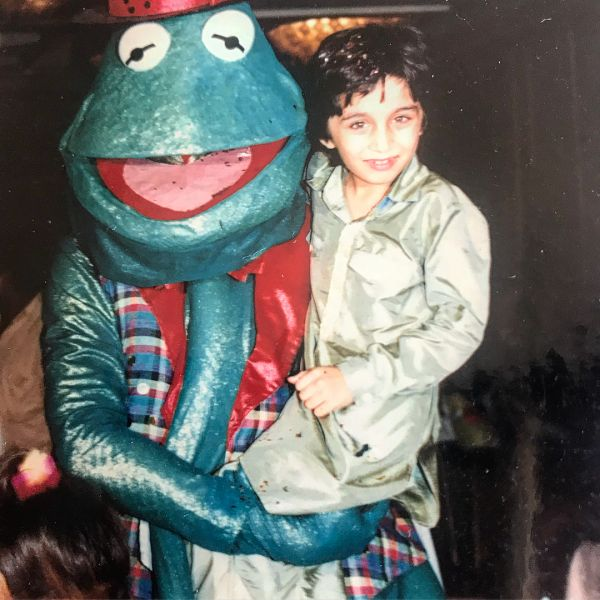 Siddhanth kapoor with a frog man at his birthday party