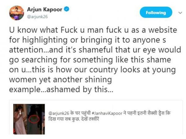 Arjun kapoor slams a website for its derogatory remarks on janhvi