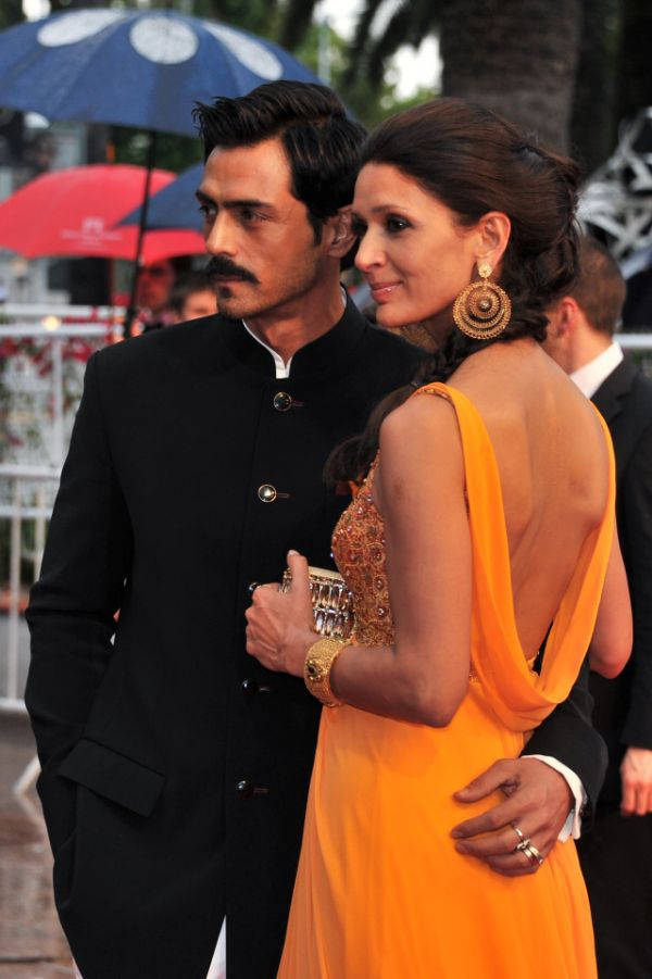 arjun rampal and wife mehr jessia at cannes in 2012