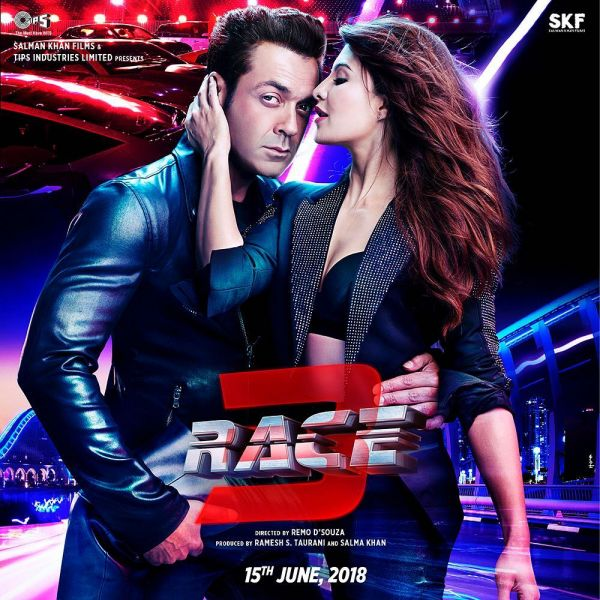 Bobby Deol and Jacqueline Fernandas in Race 3 poster