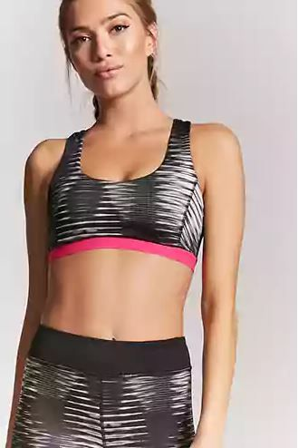 4 lingerie - black printed sports bra forever 21