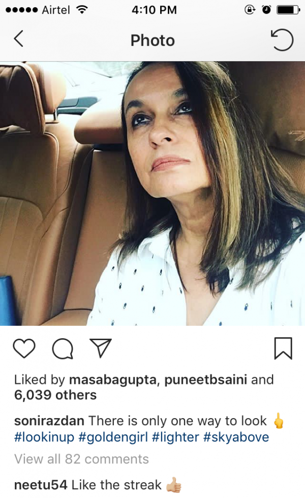 2 Neetu Kapoor's comment on Soni razdan's Post
