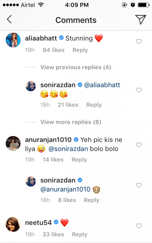 Neetu Kapoor's comment on Soni razdan's Post