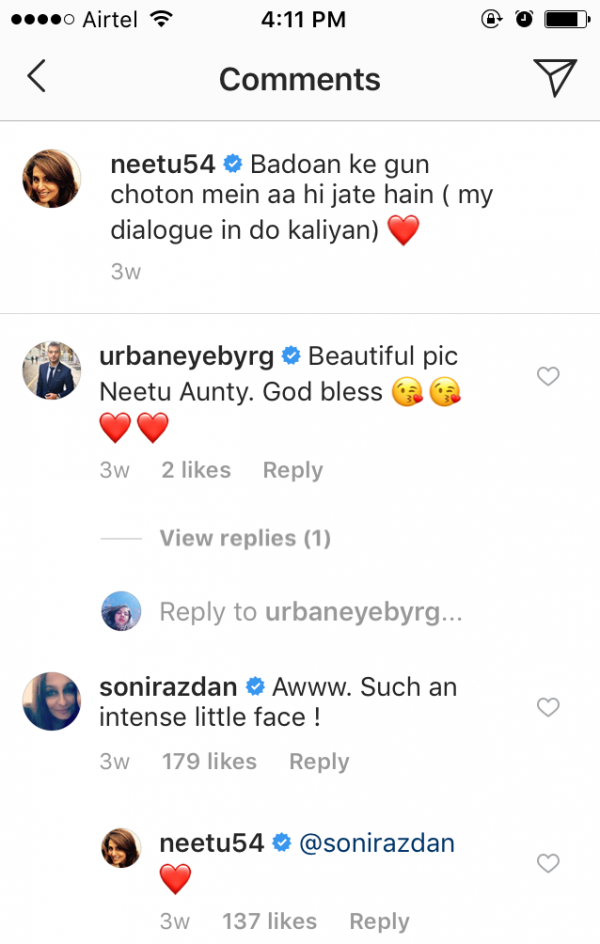 Soni Razdan's comment on Neetu Kapoor's Post