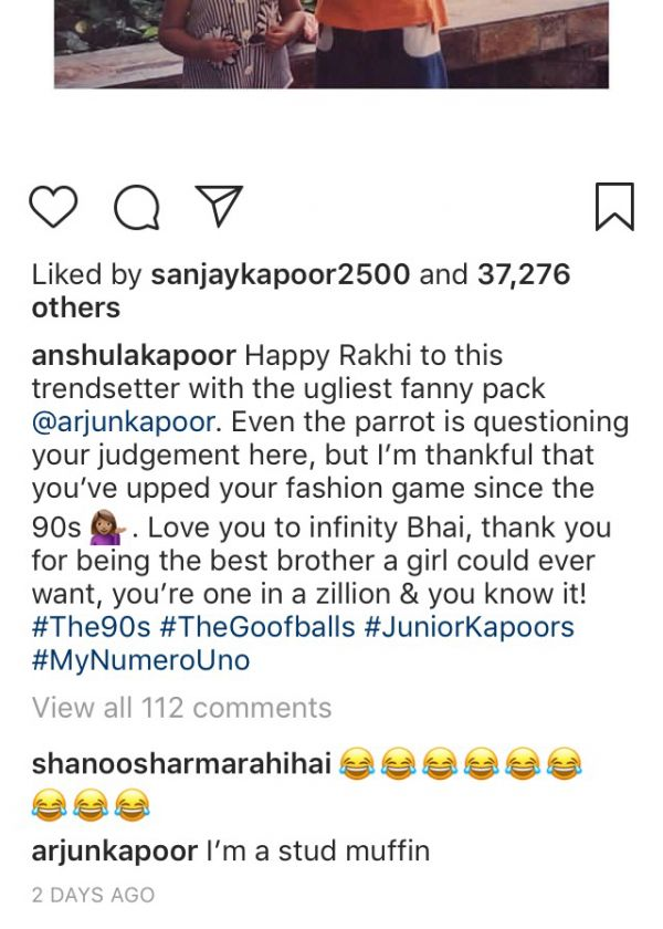 arjun kapoor's comment on Anshula's picture